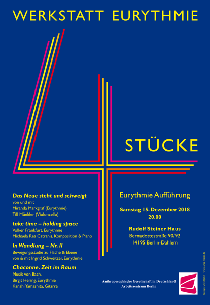 Poster for Vier Stücke Eurythmy performance, Berlin, December 2018