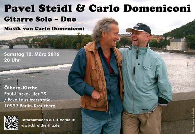 Pavel Steidl and Carlo Domeniconi concert poster design, March 2016
