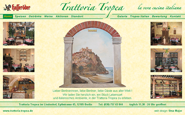 Trattoria Tropea, Italian restaurant in Berlin. Website designed by Ursa Major Design in Berlin